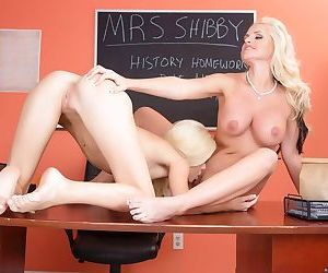 Sexy teacher Alena Croft and her student Halle Von strip each others clothes
