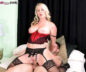Blonde mom Jenna Bouche slides her sons best friends cock up her ass