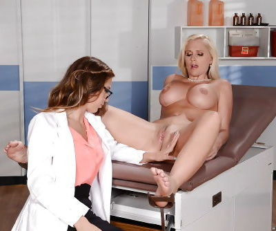 Busty blond Alena Croft has shaved cunt ate out by naughty doctor Val Dodds