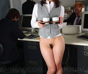 Japanese office lady Arisa Suzuki gets sandwiched by her colleagues at work