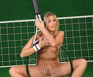 Petite blonde tennis mom Cherry Jul strips off her uniform for nude posing