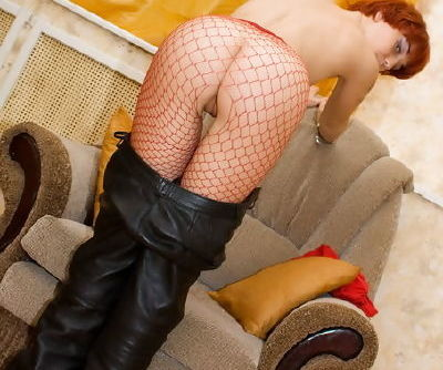 Teeny tears through the crotch of her red hose to make it to her pussy