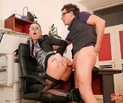 Screaming secretary hardcore fucking at work with her nasty boss