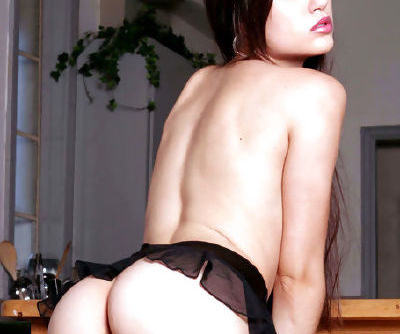 Insolent beauty in black lingerie gently shows off her hairy twat during top solo