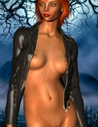 Short hair redhead toon babe wearing leather jacket outdoors - part 15
