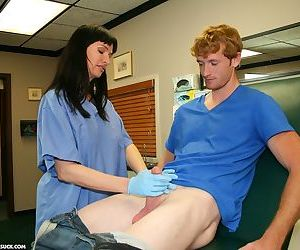 Hot nurse Angie Niore takes care of a patient by using her lips on his cock