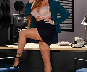 Desirable stepmom Darla Crane takes off her clothes in the office