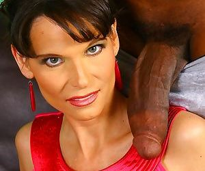 Middle-aged brunette lady Syren Demer has a thirst first for big black cock