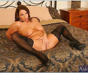 Curvy mature lady in stockings Stacie Starr stripping and exposing her cunt