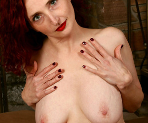 Busty red hot cougar rubs her pussy - part 256