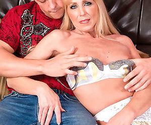 Blonde slim mom sucking in white stockings and lingerie - part 1345
