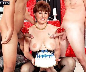 Beas 70th birthday surprise it is two cocks for her ass - part 2060