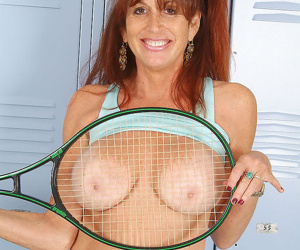 49 year old soccer mom stretches after a game - part 880