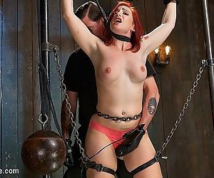 Sophia locke redhead is chain bound in dungeon ready for orgasm - part 2070