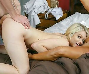 Naughty daughter and stepmother duo have a threesome with a large penis