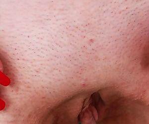 Skinny blonde lady Janotova undressing for masturbation of shaved vagina - part 2