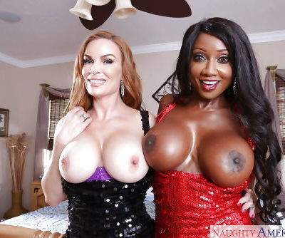 Buxom white and ebony wives Diamond Foxxx and Diamond Jackson in latex
