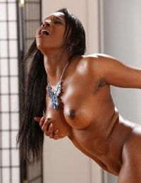 Busty black dime Jasmine Webb masturbating and toying until pissing herself - part 2