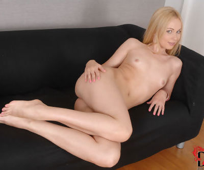 Euro solo model Lina Napoli baring her tiny titties and freshly shaved pussy - part 2