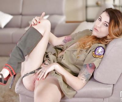Military uniform attired babe Misha Cross undressing to spread smooth pussy - part 2