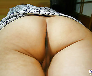 Foxy asian cutie with hairy cunt slipping off her lacy panties
