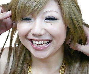 Petite Japanese girl Rui Haduki sports a messy creampie after a DP