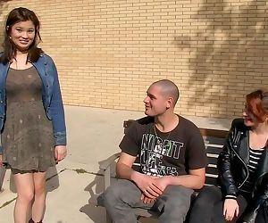 Asian chick Miyuki Son fucks a guy while his girlfriend watches