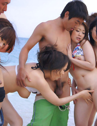 Asian in small bikini gangbanged on the beach - part 465