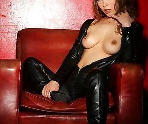 Asian kokomi sakura natural tits in black leather - part 4862