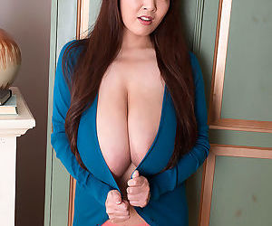 Hitomi tries on a variety of tight sweaters in her bedroom at the swanky palace - part 18