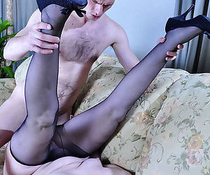Salacious mom slides her hand into her black tights while blowin - part 2473