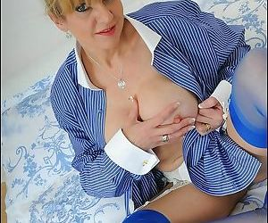 Classy english mature lady sonia playing in blue stockings - part 3040