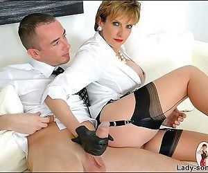 Dominating female in blouse and gloves lady sonia playing with c - part 2373