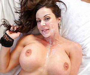Pure brunette milf gets cum on face after pov blowjob - part 3348