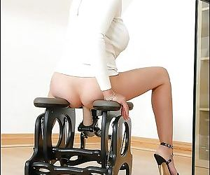 Mature vixen in glasses has joy ride on a fucking chair - part 2963