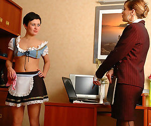 Naughty french maid licking mature gals strapon - part 16