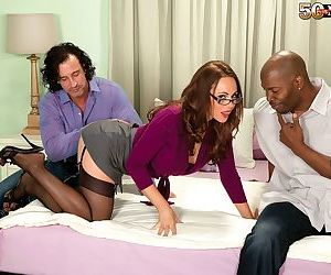 Mature queen of anal sex fucked by two black and white cocks - part 9