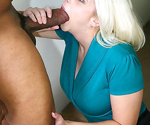 Busty blonde milf on a big black cock in front of her own son - part 13