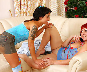 Nasty mature gal toying her pussy before showing her skills to young cutie - part 15