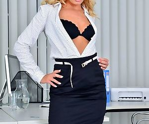 Delightful secretary Victoria Pure wants to surprise boss with naked pictures