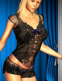 Sexy blonde in black lingerie - part 2