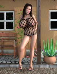 Brunette 3d hottie in fishnet bodysuit shows great tits - part 410