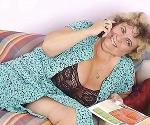 A kinky granny plays with her huge tits - part 2035