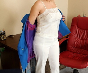 Office lady Mimi strips down naked at work place and shows her lovely curves