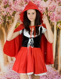 Teen first timer gets naked while removing Red Riding Hood outfit