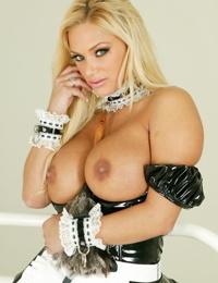 Hot pornstar Shyla Stylez doffs maid uniform to get nasty in fishnet stockings