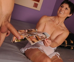 Horny granny Margo T sucks and rides stiff dick from a young boy