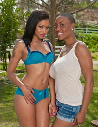 Lesbian sistas Sincerre Lemmore & Skin Diamond hump on porch in their clothes