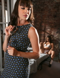 Clothed MILF Dana Dearmond consoles Sara Luvv in her bra and panties
