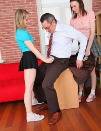 Naughty schoolgirls seduce their favorite teacher for a stacked ass 3some fuck